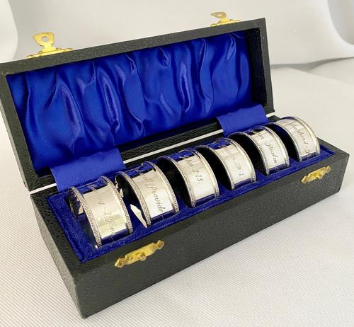 Sterling Silver Napkin Rings Inscribed with Religious Texts. Birmingham 1965 (1 of 7)
