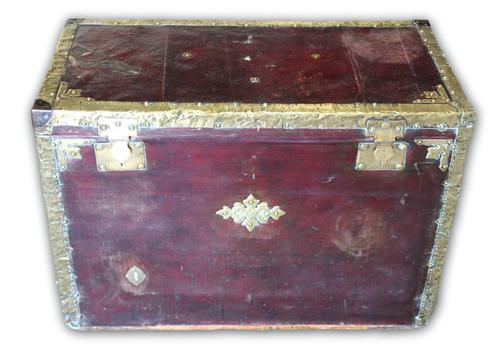 Red Leather Traveling Trunk with Polished Brass Detail (1 of 7)