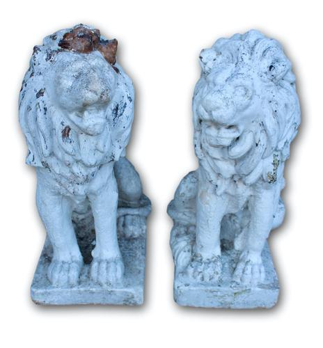 Pair of White Painted Terracotta Lions (1 of 5)