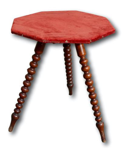 Victorian Bobbin Table with Red Felt Top (1 of 3)