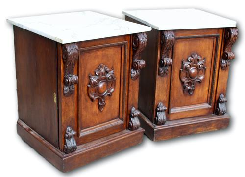 Pair of Oak Cabinets with Marble Tops (1 of 5)