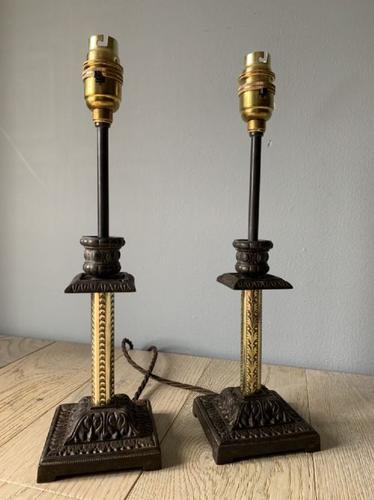 Near Pair of Victorian Table Lamps, Converted Candlesticks, Rewired & PAT Tested (1 of 10)