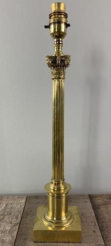 Tall Slender Pillar Corinthian Column Brass Table Lamp, Rewired & PAT Tested (1 of 9)