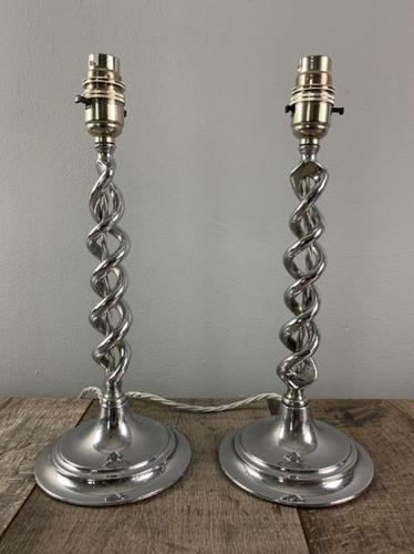 Pair of 1930s Chrome Twist Table Lamps, Rewired & PAT Tested (1 of 8)
