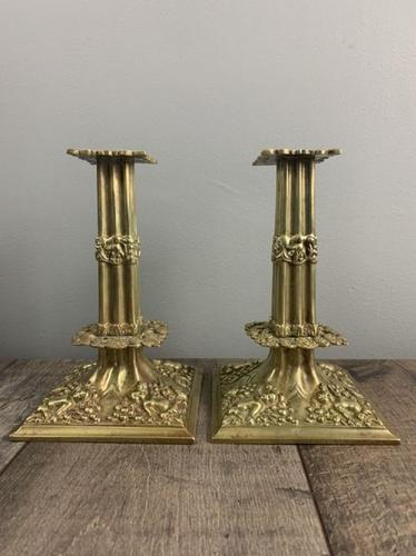 Beautiful French C1890 Cherub Pair of Brass Candlesticks, Lovely Patina (1 of 7)