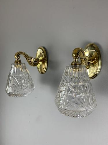 1920'S Pair of Gec English Brass Cut Crystal Wall Lights, Original Shades, Rewired (1 of 9)
