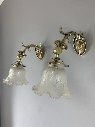 Adjustable Fine Rams Head Brass Pair of Wall Lights, English, Original Shades, Rewired (1 of 11)