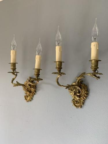 Pair of French Ornate Gilt Wall Lights, Rewired (1 of 9)