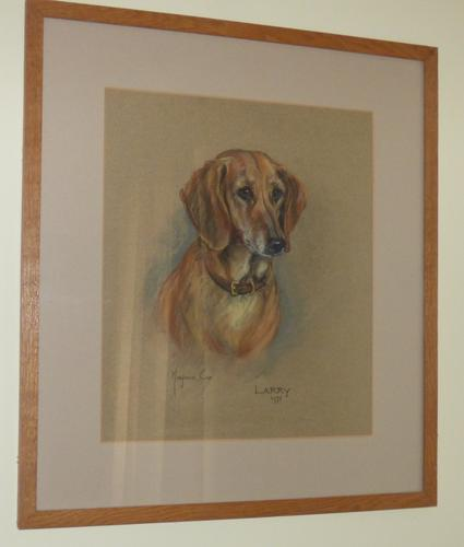 Marjorie Cox 1915-2003 - Pastel Portrait of Dachshund Larry 1971 - (1 of 4)