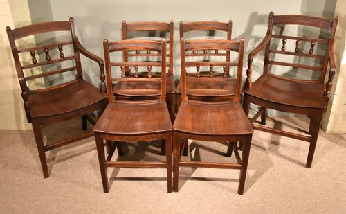 Set of Six Cherry Wood Country Dining Chairs (1 of 1)