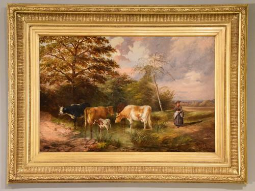 """Oil Painting by Samuel Joseph Clark """"the Cow Maid"""" (1 of 5)"""