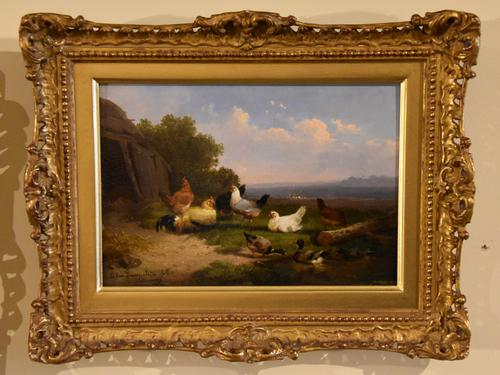 "Oil Painting by Cornelius Van Leemputten ""Chickens in Landscape"" (1 of 4)"