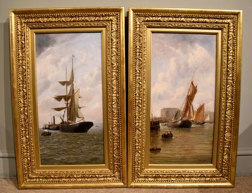 "Oil Painting Pair by Henry Witherspoon ""Barge Entering Dover Harbour"" (1 of 10)"