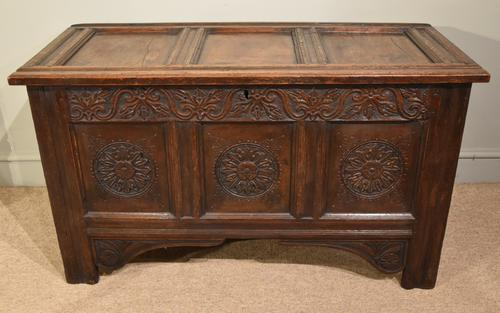 Carved Oak Coffer From17th Century (1 of 7)