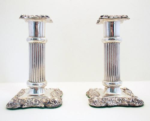 Pair of Antique Victorian 1900 Solid Sterling Silver English Candlesticks / Candle Holders. 4 1/2' Tall (1 of 1)