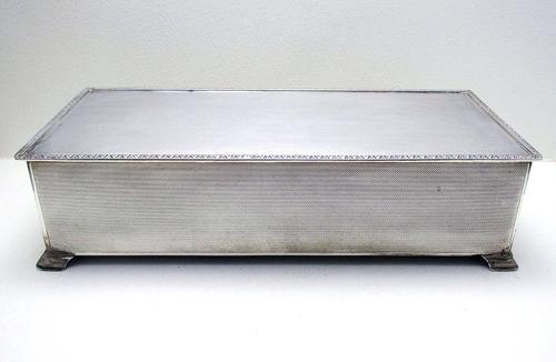 Huge 25Cm Sterling Silver English Cigarette Cigar Trinket Jewelry Casket Case Box. Solid Lid 1965 (1 of 11)