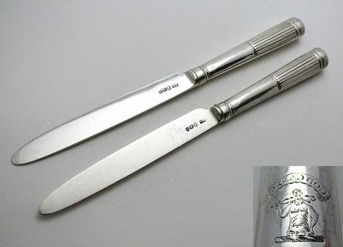 Pair 1802 Antique George III Sterling Silver Table / Dinner Knives, Moses Brent, Dread God Motto (1 of 10)