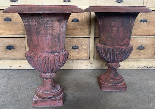 Large Pair of Cast Iron Medici Urns (1 of 10)