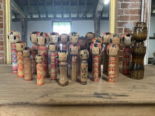 Collection of 22 Japanese Kokeshi Wooden Dolls (1 of 8)