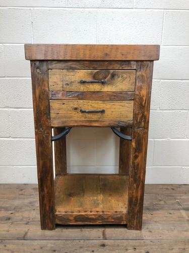 Vintage Rustic Wooden Kitchen Work Table with Slate Top (1 of 1)