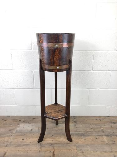Antique Oak Coopered Jardiniere Stand by Lister & Co (1 of 7)