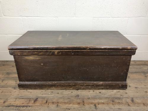 Antique Victorian Stained Pine Trunk (1 of 8)