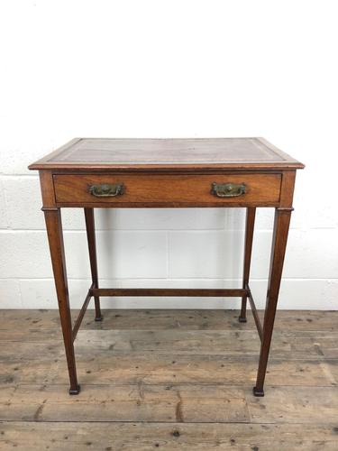 Antique Arts & Crafts Side Table with Leather Top (1 of 11)