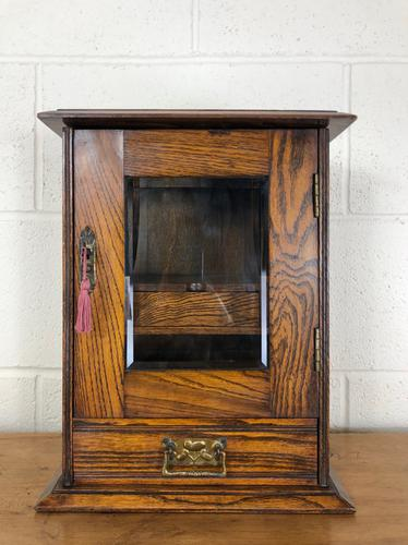 Small Antique Oak Smoker's Cabinet (1 of 6)