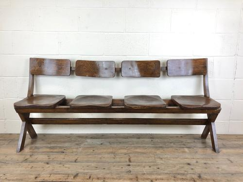Antique Victorian Elm Four Seater Bench (1 of 15)
