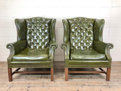 Pair of Green Button Back Chesterfield Wing Back Armchairs (1 of 14)