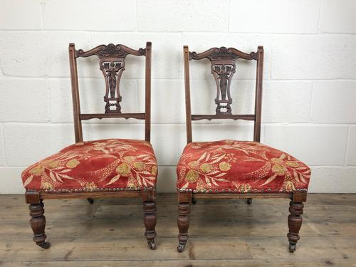 Pair of Antique Bedroom Chairs with Fabric Seats (1 of 7)