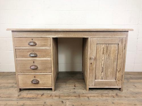 Antique Pitch Pine Kneehole Writing Desk (1 of 9)
