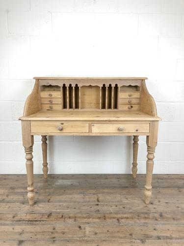 Vintage Stripped Pine Desk with Drawers (1 of 10)