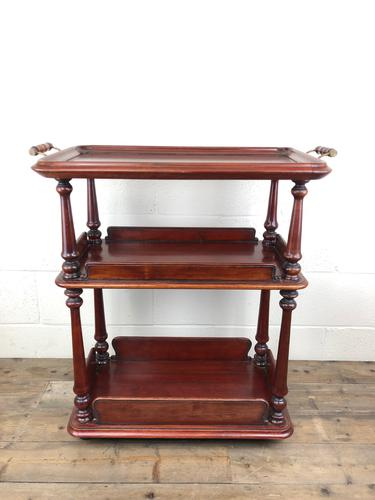 Antique Mahogany Three Tier Drinks Trolley (1 of 8)