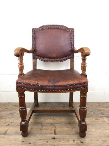 Antique Oak & Leather Studded Armchair (1 of 10)