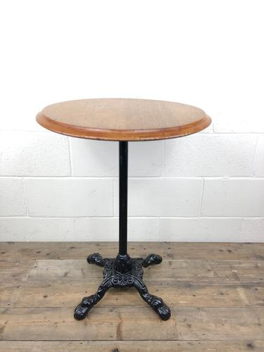 Vintage Circular Pub Style Table on Cast Iron Base (1 of 7)