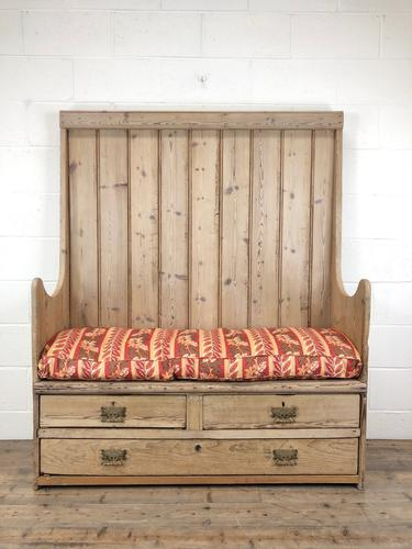 Rustic Antique Pine High Back Tavern Settle (1 of 13)