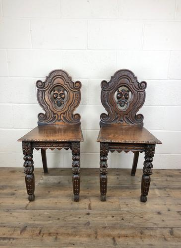 Pair of Antique Carved Oak Hall Chairs (1 of 11)