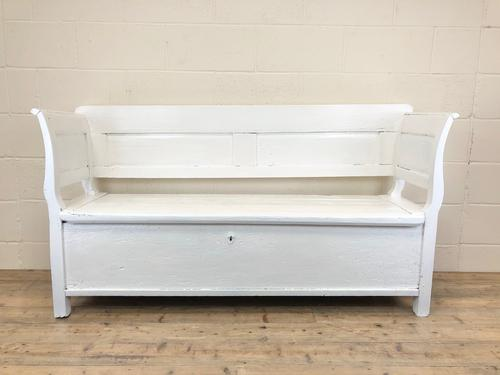 19th Century Painted Antique Pine Bench or Settle (1 of 13)