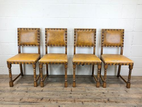 Set of Four Early 20th Century Leather Dining Chairs (1 of 10)