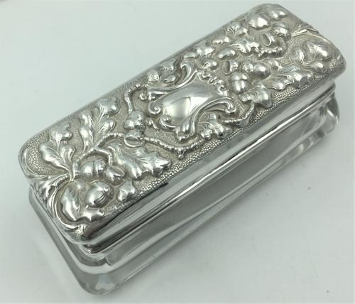 Silver Topped Glass Trinket Box Chester 1901 Nathan & Hayes (1 of 6)