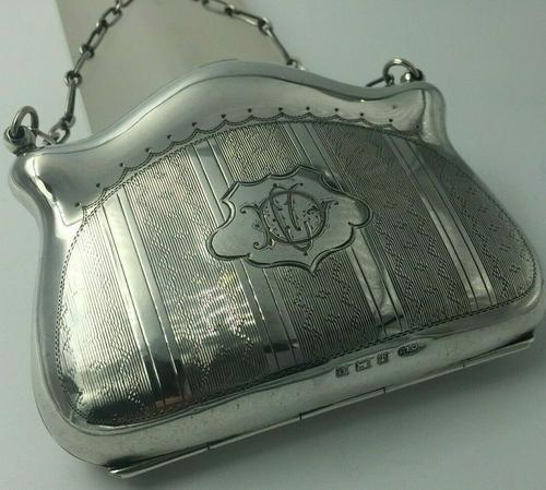 Silver Purse Birmingham 1913 Original Leather Liner, Excellent Condition (1 of 9)