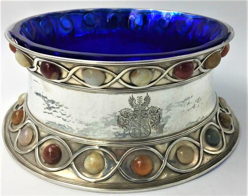 Stunning Large Arts & Craft Silver Bowl Set with Agate Cabochons Fox 1901 (1 of 7)