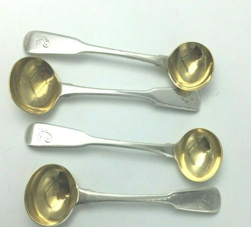 Set 4 Georgian Silver Salt  Spoons John Lias  London 1816 (1 of 5)