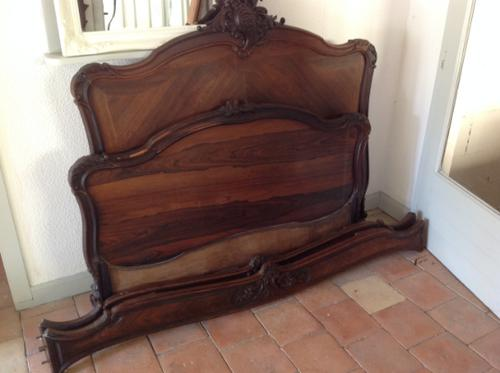 """19th Century French Antique Solid 4'6"""" 140Cm Kingswood Chateau Bed Armorial Queen Double Bed (1 of 5)"""