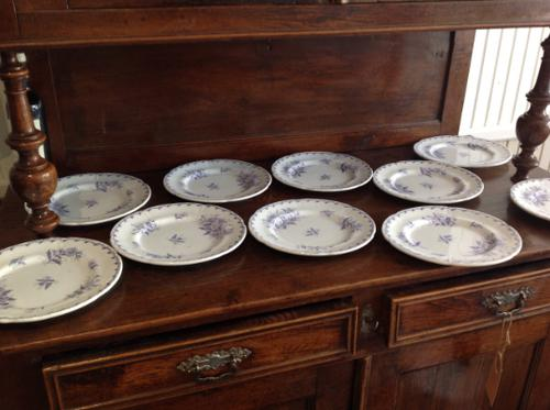 10 Piece Antique 19th Century French Gien Pottery Purple Transfer Printed Dinner Plates Each Piece Stamped (1 of 8)