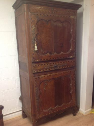 18th Century French Cherry Wood & Inlaid Cabinet Sagurrimes Cabinet Armoire Buffer (1 of 10)