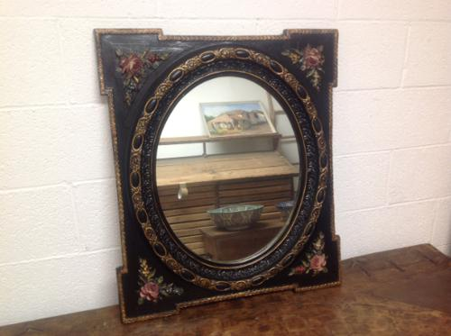 Very Fine Late 19th Century French Oval Wall Mirror Set in Obling Gesso Black Lacquered Frame with Roses to Each Corner (1 of 9)
