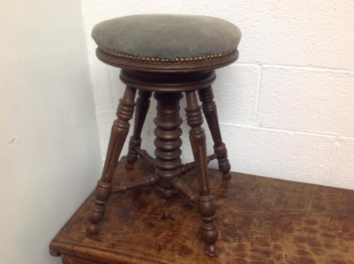 Early 20th Century French Stained Walnut Rotating, Swivel & Adjustable Height Piano Stool c.1930 (1 of 6)