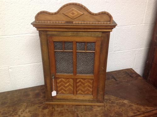 Late 19th Century French Child's Walnut & Cherry Wood Apprentice Piece Armoire / Small Cabinet with Frosted Glass Andy Chevron Inlay (1 of 8)